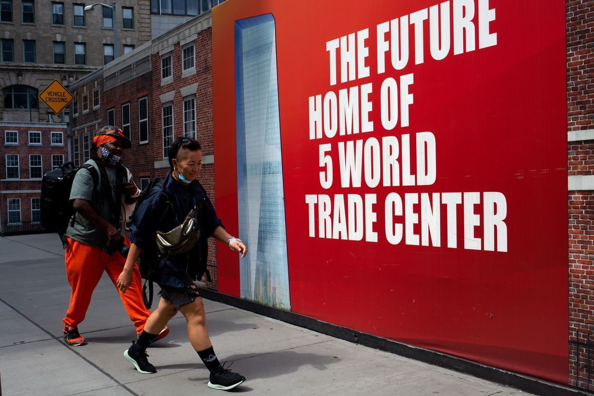 Developers hung a rendering of 5 World Trade Center on a fence around the construction site, July 14, 2021.