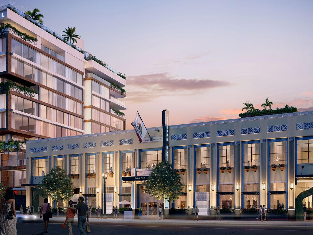 A rendering of the rehabbed Hollywood Citizen-News building.