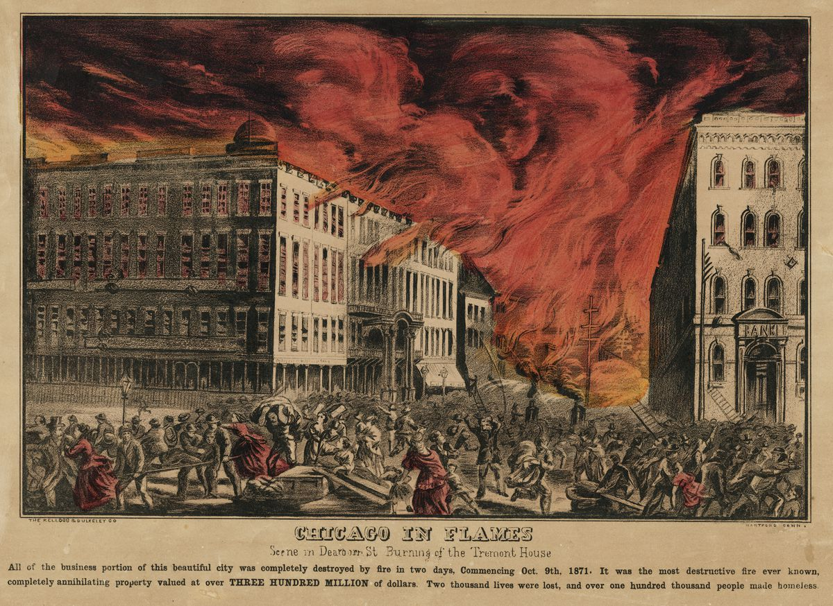 Lithograph depicting the burning of the Tremont House on Dearborn Street during the Chicago Fire of 1871.