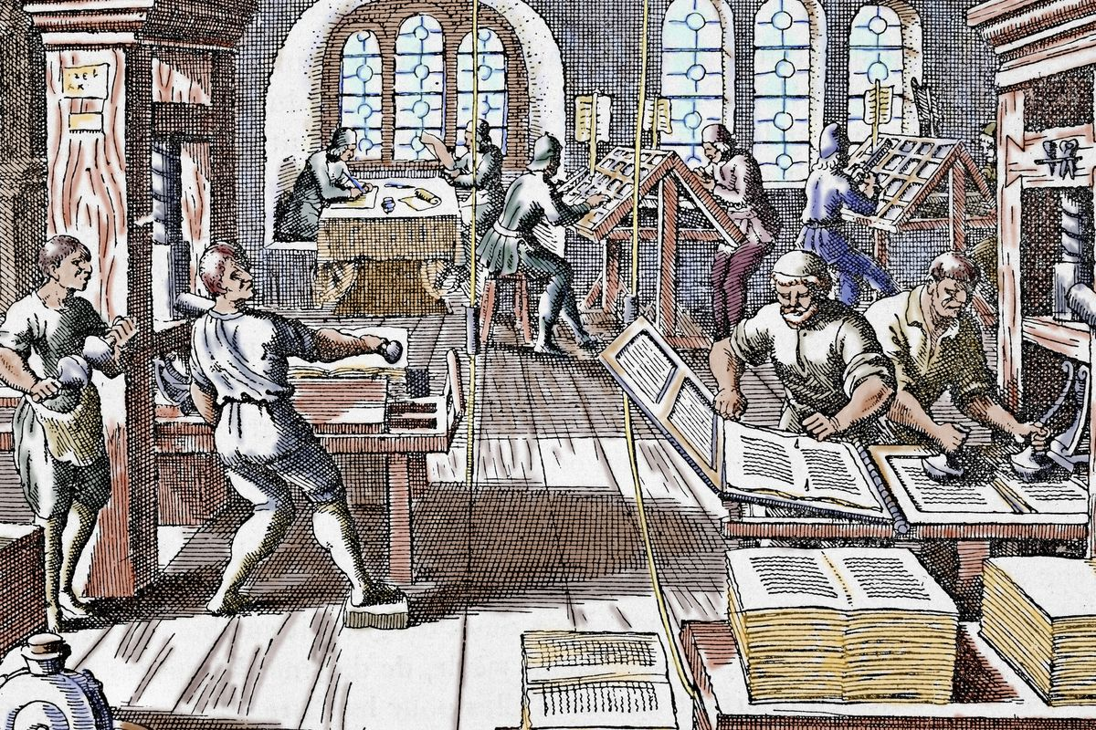 An illustration of a 17th century printing press