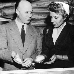 This 1951 photo courtesy of Tupperware shows Earl S. Tupper, left, and Brownie Wise as they hold resin pellets at the Tupperware factory in Farnumsville, Mass. Tupperware, it seems, is enjoying a renaissance 65 years after it first hit the market with Wonder Bowls, Bell Tumblers and Ice-Tup molds for homemade frozen treats.