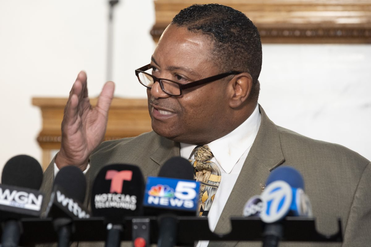 Pastor Marvin Hunter speaks at a press conference responding to President Biden's dispatching a federal task force to Chicago to stem gun violence. Tuesday, June 29, 2021.