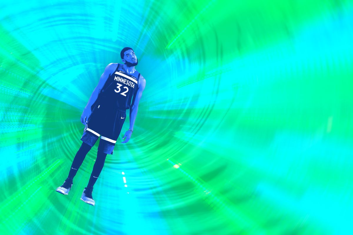 Photo illustration of Minnesota Timberwolf Karl-Anthony Towns caught in a green-and-blue swirl