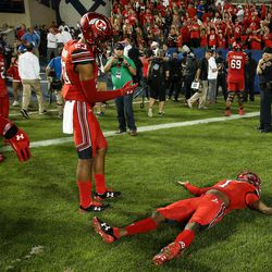 Utah Utes defensive back Boobie Hobbs (1) celebrates their win over the Brigham Young Cougars at LaVell Edwards Stadium in Provo on Saturday, Sept. 9, 2017.