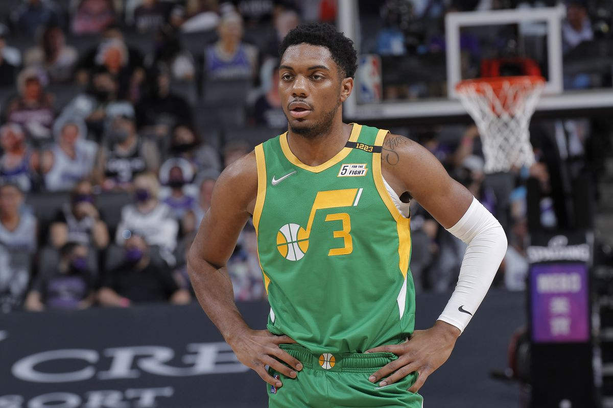 Trent Forrest #3 of the Utah Jazz looks on during the game against the Sacramento Kings on May 16, 2021 at Golden 1 Center in Sacramento, California.