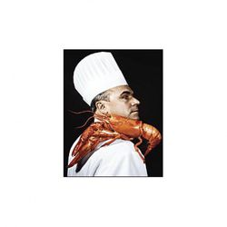 """Jean-Georges holding a lobster with his shoulder.  Always one step ahead, this guy. (<a href=""""http://nymag.com/nymetro/food/features/12074/"""" rel=""""nofollow"""">photo</a>)."""