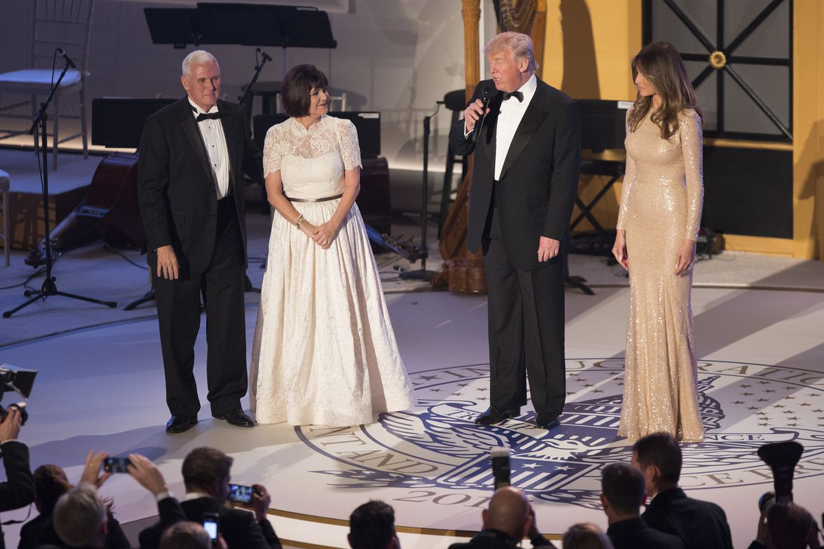 Donald Trump, Melania Trump, Mike Pence, and Karen Pence attend a ball to thank donors in January 19, 2017, the day before Trump's inauguration.