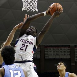 UConn's Mamadou Diarra (21) during the Columbia Lions vs UConn Huskies men's college basketball game at Gampel Pavilion in Storrs, CT on November 29, 2017.