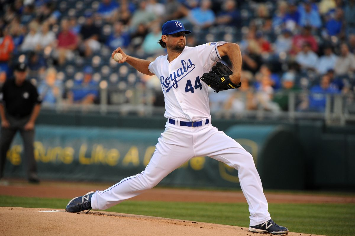 Sep 6, 2012; Kansas City, MO, USA; Kansas City Royals starting pitcher Luke Hochevar (44) delivers a pitch in the first inning against the Texas Rangers at Kauffman Stadium. Mandatory Credit: John Rieger-US PRESSWIRE