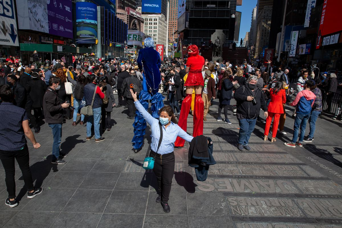 Broadway actors held a free performance in Times Square as the city started to loosen coronavirus restrictions, March 12, 2021.