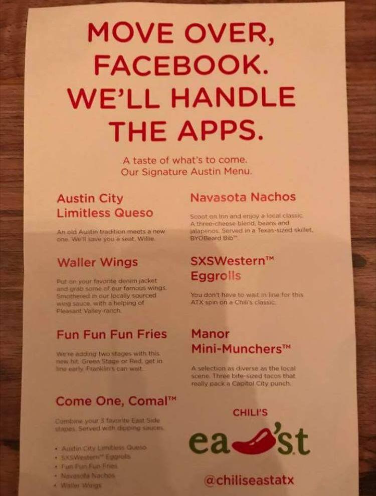 Chili's East's menu