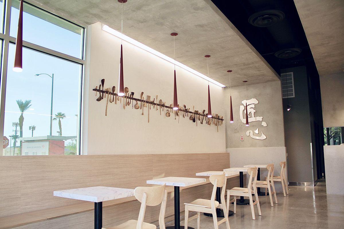 The light wood of a restaurant
