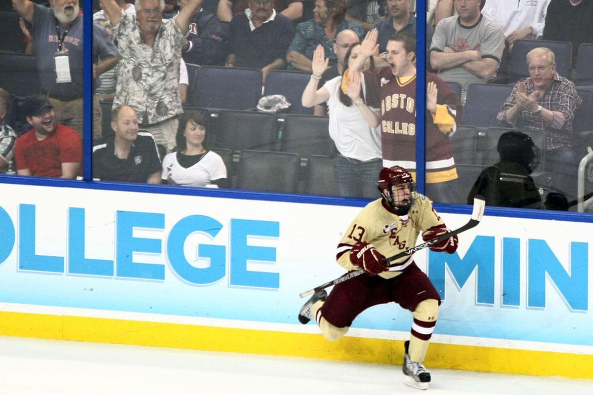 Johnny Gaudreau and his BC teammates did lots of celebrating Friday night at Boston University.
