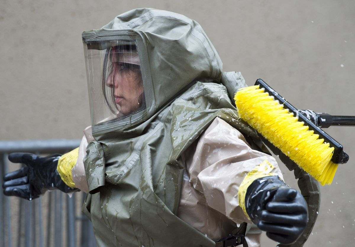 Emergency Room staff from MedStar Georgetown University Hospital conduct a decontamination disaster drill in the Washington, D.C., on May 18, 2016.