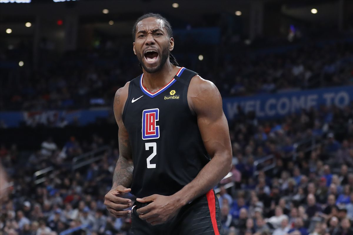 LA Clippers forward Kawhi Leonard reacts after a basket against the Oklahoma City Thunder during the second quarter at Chesapeake Energy Arena.