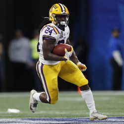 LSU running back Chris Curry (24) runs against Oklahoma during College Football Playoff game, Saturday, Dec. 28, 2019, in Atlanta. He is one of three running backs who transferred into the Ute program during the offseason.