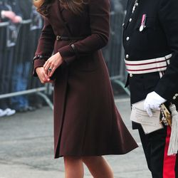 Visiting the National Fishing Heritage Centre in Grimsby, England, on March 5th, 2013 in a brown Hobbs coat.