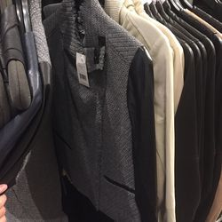 Leather and gray knit jacket, $279 (was $695)