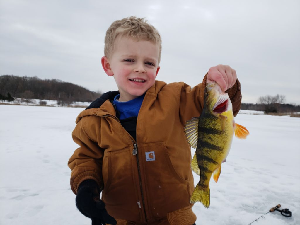 Jackson Benesch with a perch caught and released at Independence Grove.<br>Provided by Marcus Benesch