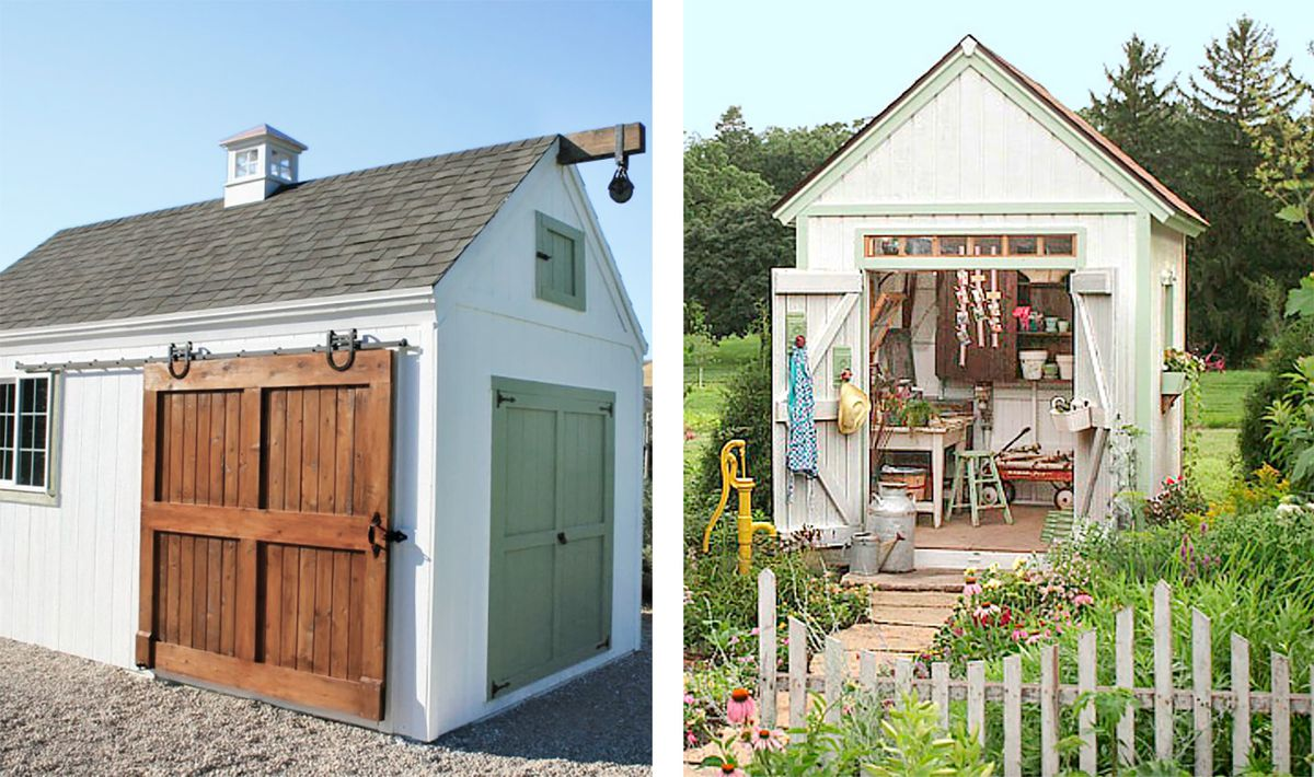 Split Screen Of: Garden Shed With Double Sliding Door And Garden Shed With Swinging Door