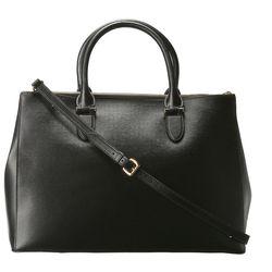 "A logoless, understated workhorse. Lauren Ralph Lauren Newbury <a href=""http://www.zappos.com/lauren-ralph-lauren-newbury-double-zip-satchel-black-gold"">double-zip satchel</a>, $298."