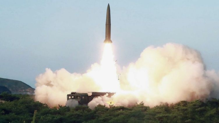 North Korea shoots KN-23 short-range ballistic missile from a road-mobile launcher.