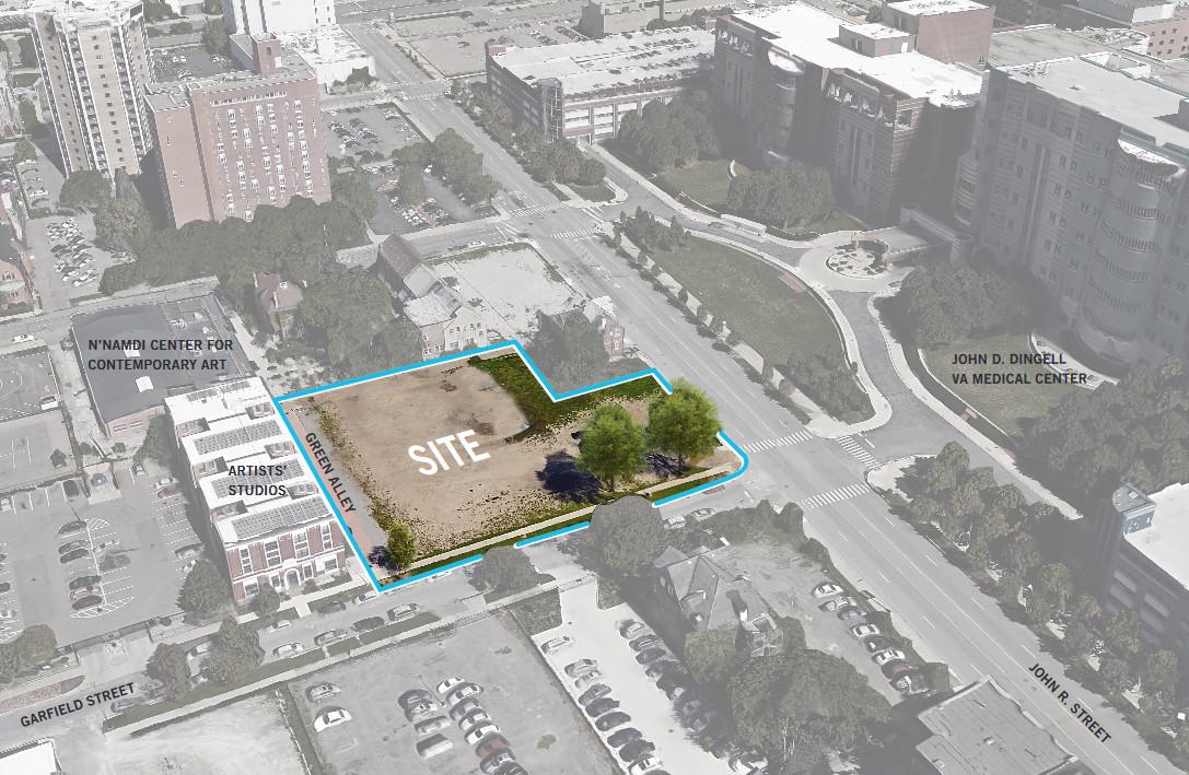 An overhead view of the mostly rectangular development site. Across John R street is the John Dingell VA Center.