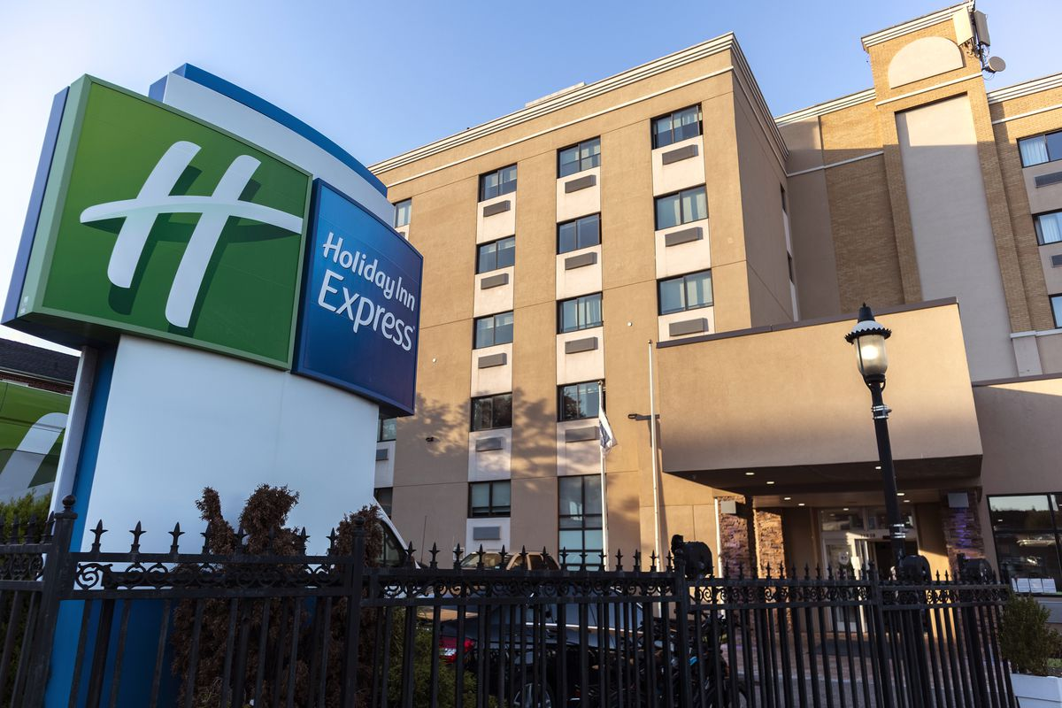 The Holiday Inn Express LaGuardia in Queens, one of several hotels the city has paid to shelter homeless people during the pandemic.