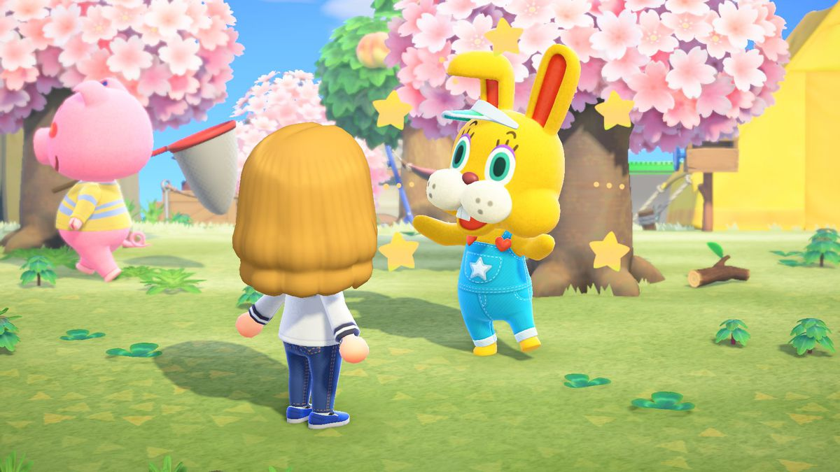 Zipper T. Bunny cheerily talks to an Animal Crossing character