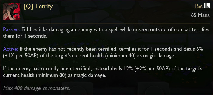 Fiddlesticks' in-game tooltip for its Q ability, Terrify
