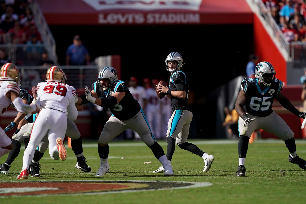 Kyle Allen of the Carolina Panthers drops back to pass against the San Francisco 49ers during the second quarter of an NFL football game at Levi's Stadium on October 27, 2019 in Santa Clara, California.