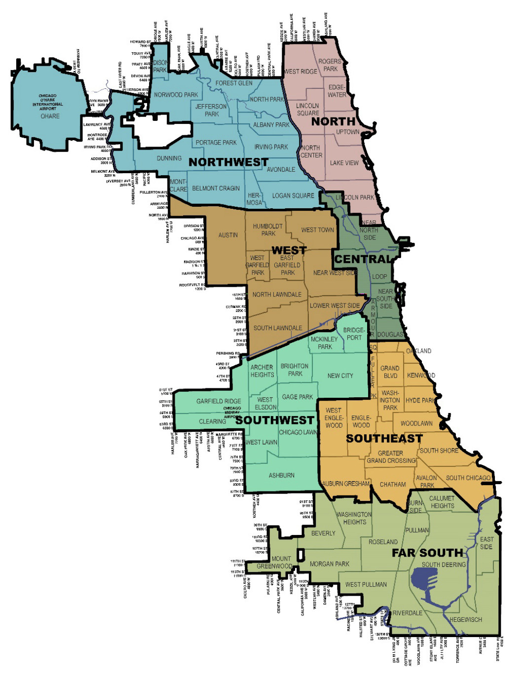 A map of Chicago separated into Northwest, North, West, Central, Southwest, Southeast, and Far South regions.