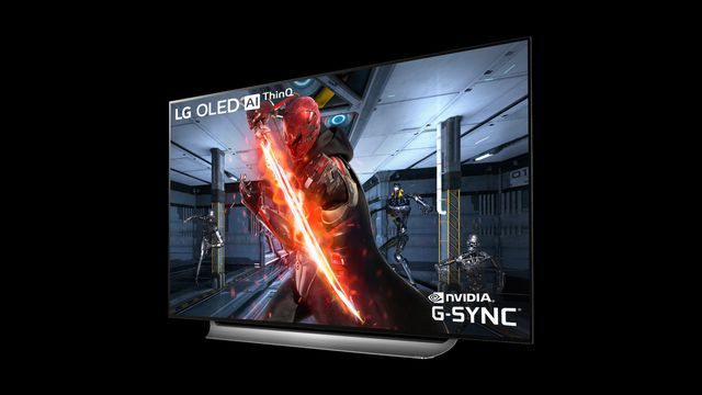 an LG OLED TV with Nvidia G-Sync artwork on it, on a black background