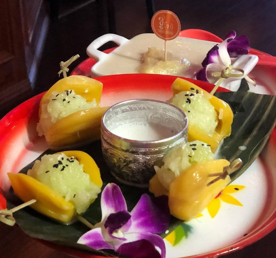 A Thai dessert consisting of jackfruit with sticky rice and durian