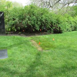 5/12/15: The grave is sodded, flags tell the caretakers not to mow the grass -