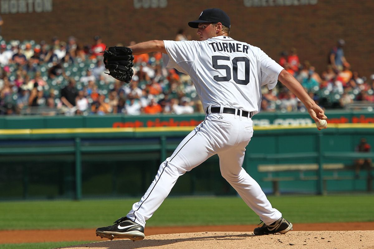 DETROIT, MI - JULY 30:  Jacob Turner #50 of the Detroit Tigers pitches the baseball in his MLB debut against the Los Angeles Angels of Anaheim at Comerica Park on July 30, 2011 in Detroit, Michigan.  (Photo by Dave Reginek/Getty Images)