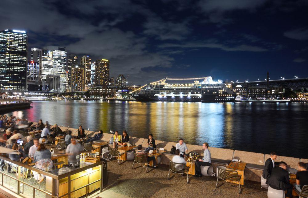 An outdoor bar along the Sydney harbor