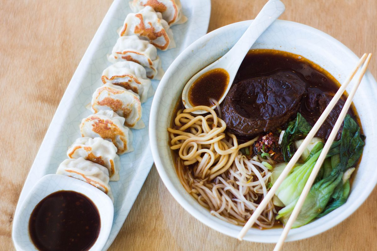 Pan-fried dumplings and noodles at Hello Dumpling