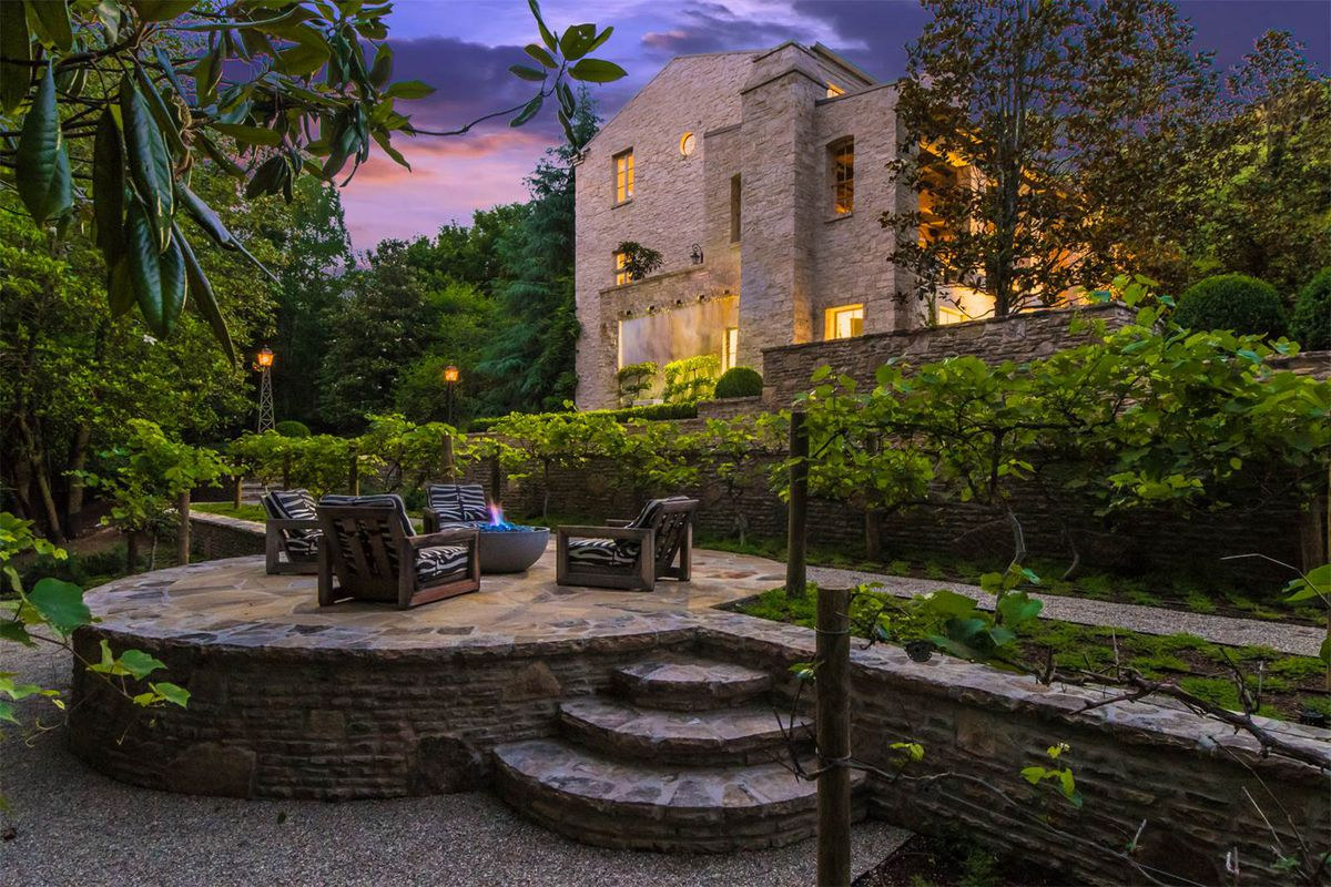 The fire pit of a Buckhead home for sale at $9.5 million.