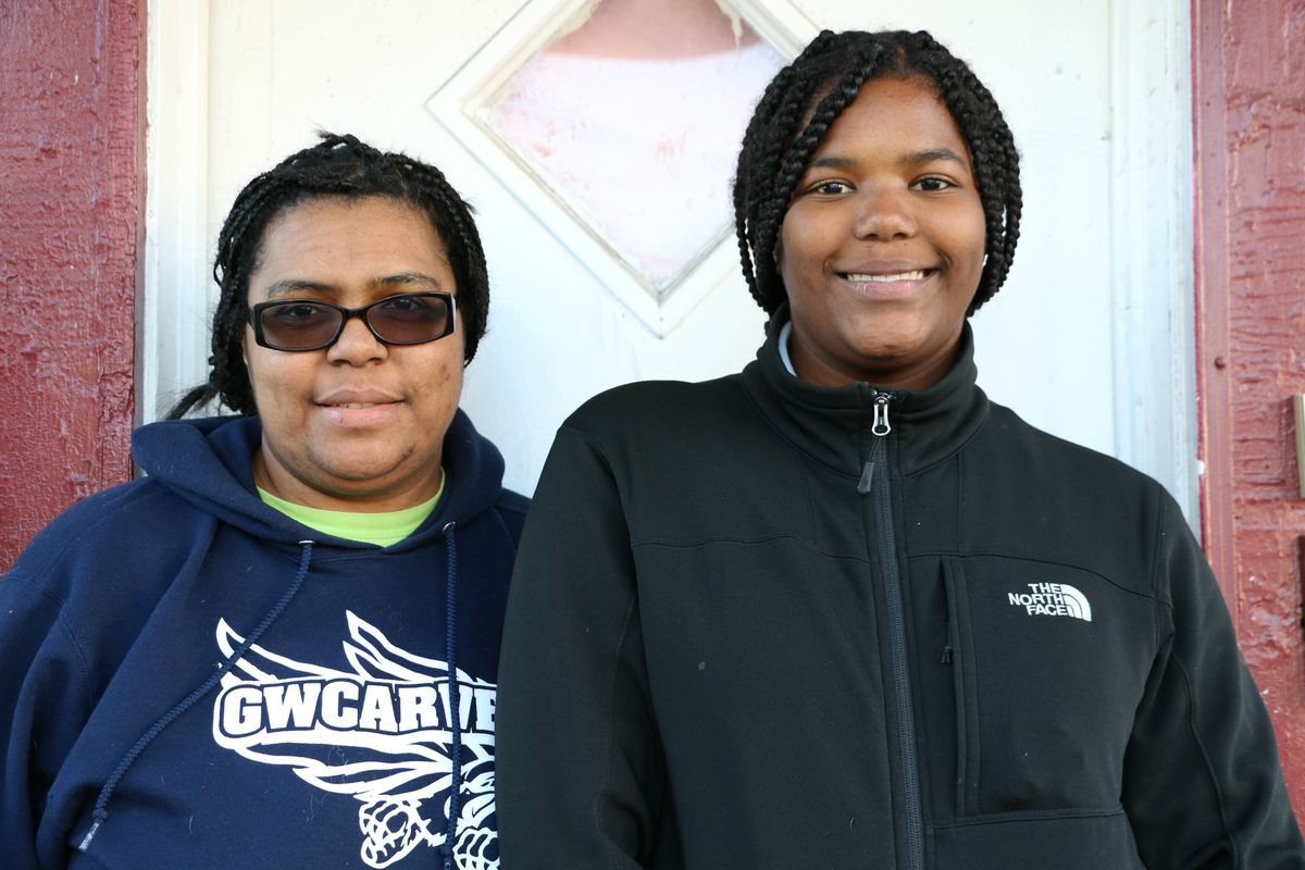 Haneefah Webster with her daughter, Samiyah, an eighth-grader at George Washington Carver School.