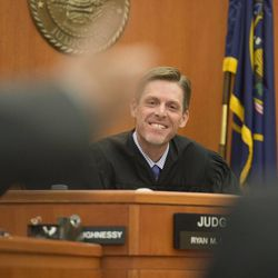Third District Judge Ryan Harris listens as attorneys ask questions after he set a bond for $17.5 million dollars that if accepted by Park City Mountain Resort would allow the resort to run the ski operations there for the upcoming winter season. The amount was disclosed during a hearing at the Summit County Justice Center in Park City, Friday, Sept. 5, 2014.