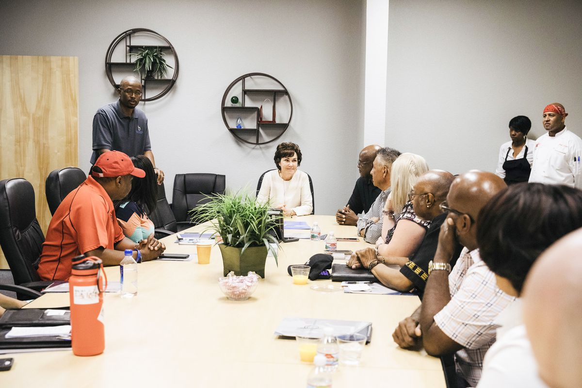 Congresswoman Jacky Rosen speaks with guests during a Roundtable Discussion with African American Entrepreneurs at Branch Benefits Consultants in Las Vegas, Nev. on September 15, 2018.