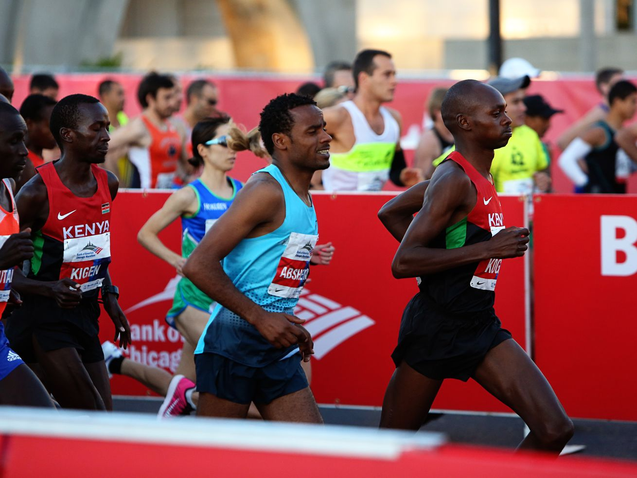 Runners in the Elite division start the 26.2 mile Bank of America Chicago Marathon in October 2013.