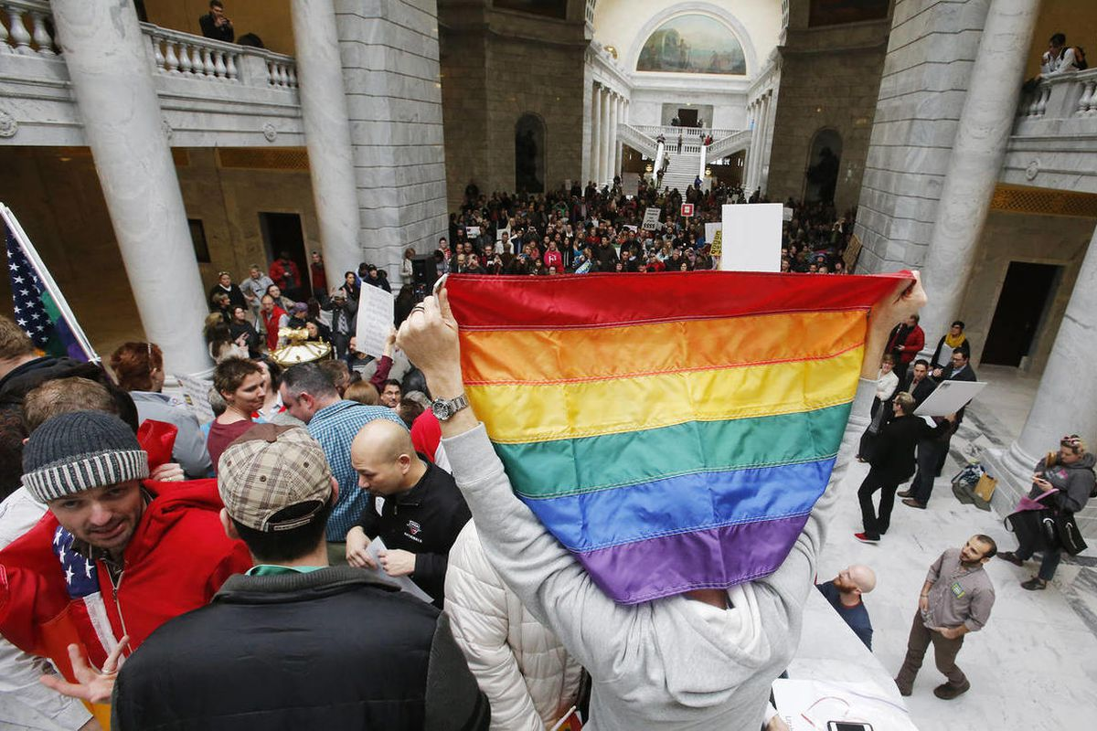 """Plaintiffs, activists and equality supporters rally at the Utah State Capitol to show support for Judge Robert Shelby""""™s Dec. 20th ruling on Amendment 3  in Salt Lake City  Friday, Jan. 10, 2014."""