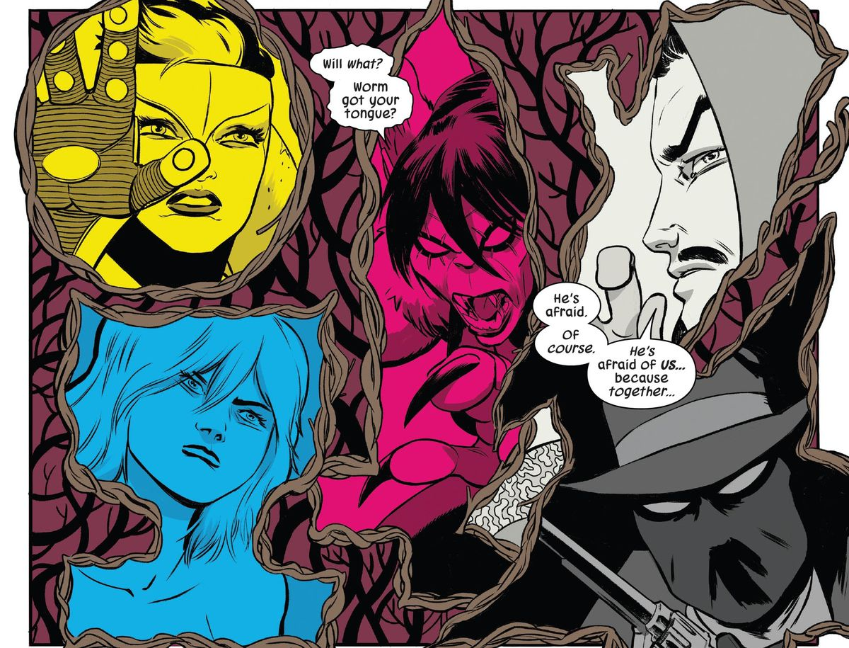 Taaia (yellow), Cloud (cyan), Harpy (magenta), Doctor Strange (white), and the Masked Raider (black) represent the magical sign of Five, represented by the four colors of the color printing process and white, the color of the page, in Defenders #3 (2021).