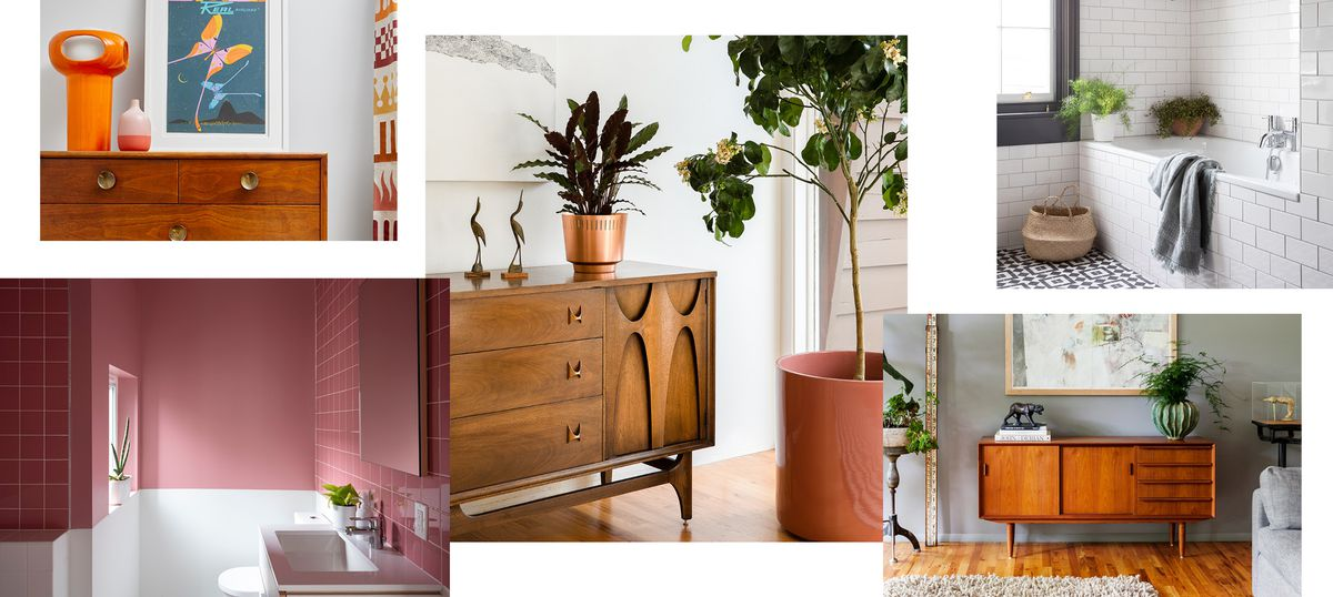 A collage of photographs showing a Danish teak credenza, orange lamp, and butterfly illustration; a  vintage Broyhill Brasilia credenza with a copper plant pot and two bird sculptures; a tub in a bathroom with white subway tile walls; a vintage Danish sideboard in a living room with gray walls; and a bathroom covered in pink tile