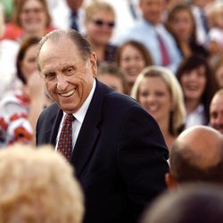 FILE - President Thomas S. Monson attends the Cultural Celebration performed by the youth of the Twin falls Temple district Aug. 23, 2008.