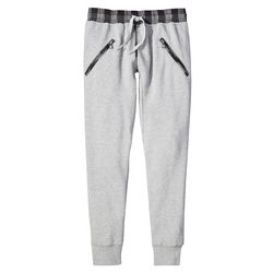 Jogger Pant in Grey with Plaid Trim, $29.99