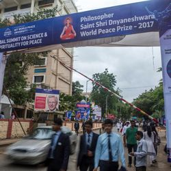 Elder D. Todd Christofferson, a member of the Quorum of Twelve Apostles for The Church of Jesus Christ of Latter-day Saints, is seen on banners at the entrance of the MIT World Peace University in Pune, Maharashtra, India, on August 15, 2017.s