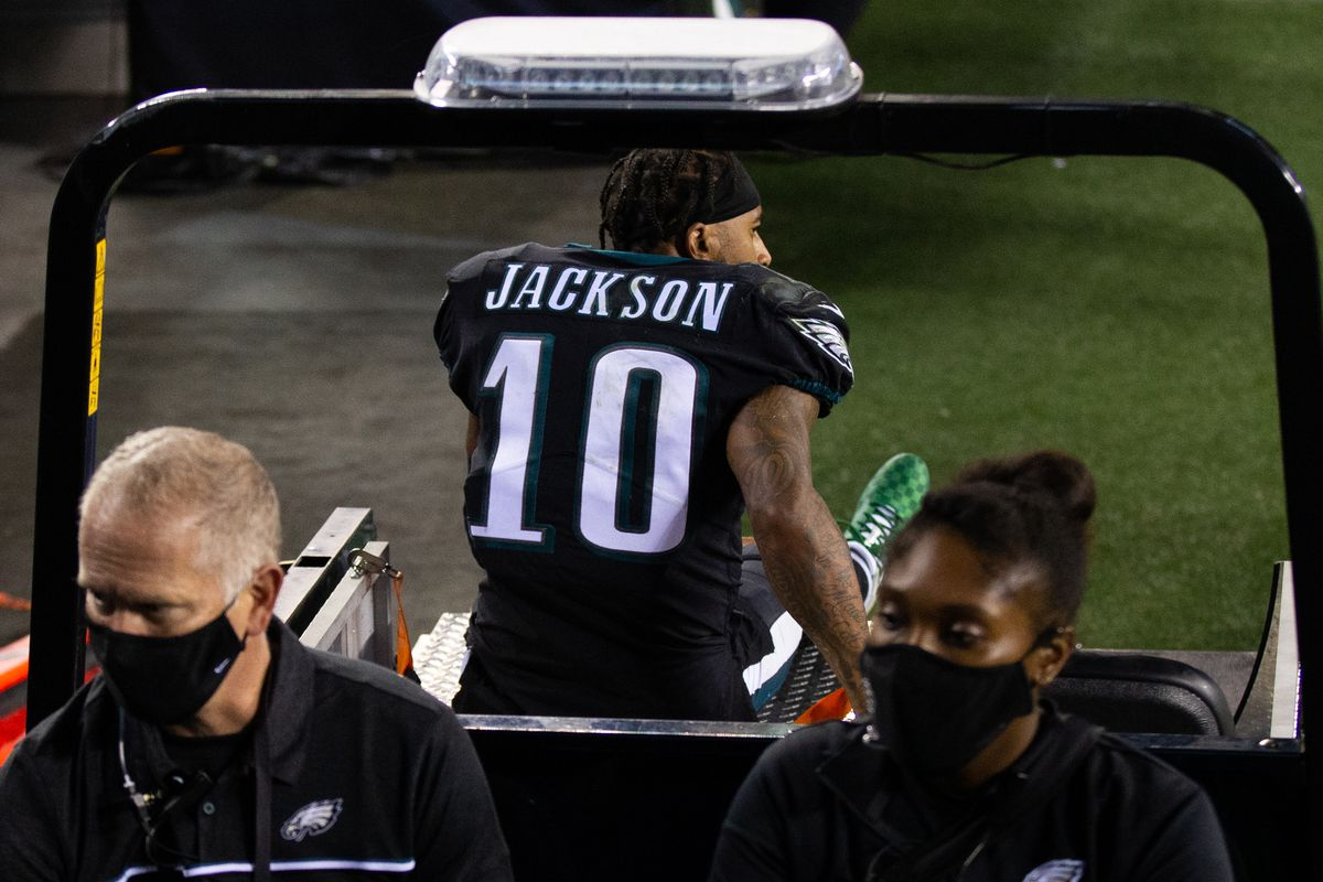 Philadelphia Eagles wide receiver DeSean Jackson is carted off the field after being injured during the fourth quarter against the New York Giants at Lincoln Financial Field.